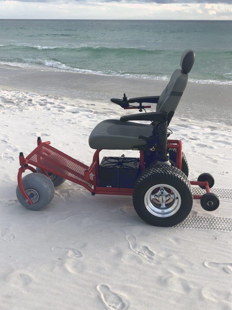 Power Beach Wheelchair - Power Wheelchair for Rent to use on the Beach - Cocoa Beach FL - Brevard County Beaches