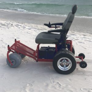 Power Beach Wheelchair - Power Wheelchair for Rent to use on the Beach - Cocoa Beach FL - Brevard County Beaches