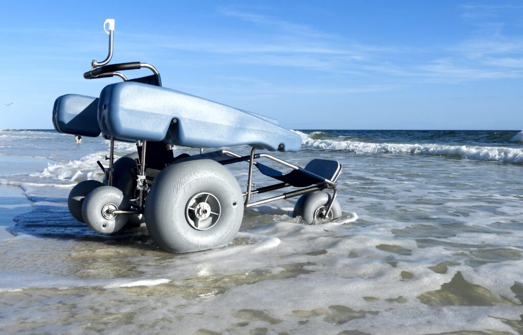Floating Beach Wheelchair for Rent - Beach Sand Tires and Floating Sides for Fun in the Ocean