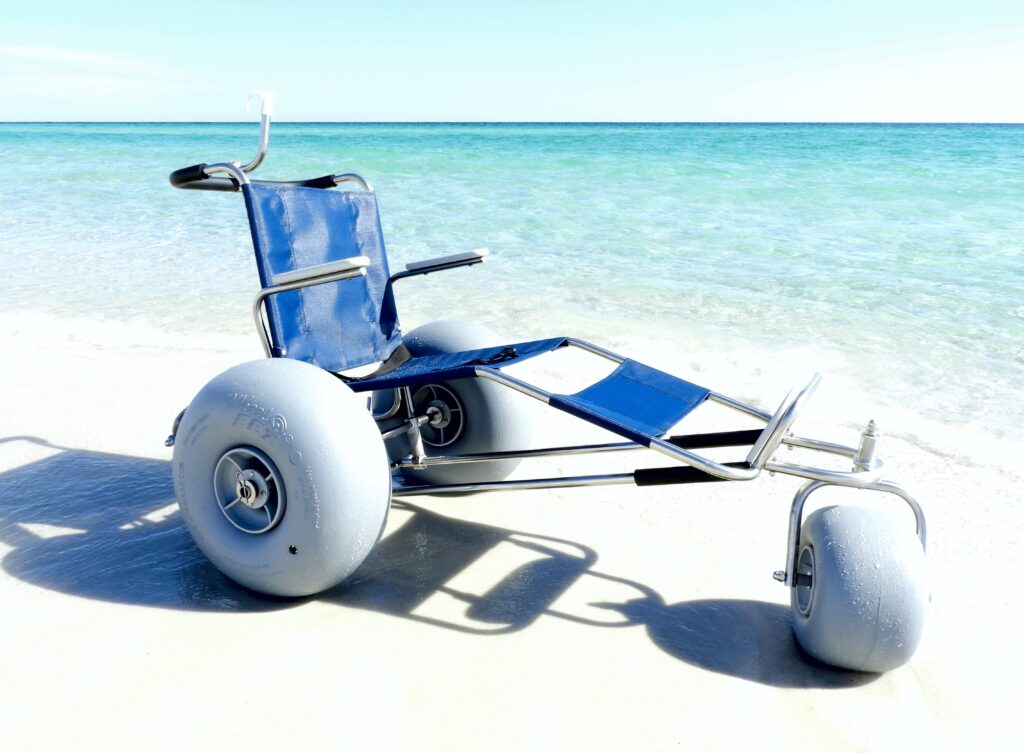 Reclining Beach Wheelchair with Extended Leg Rest - Cocoa Beach FL