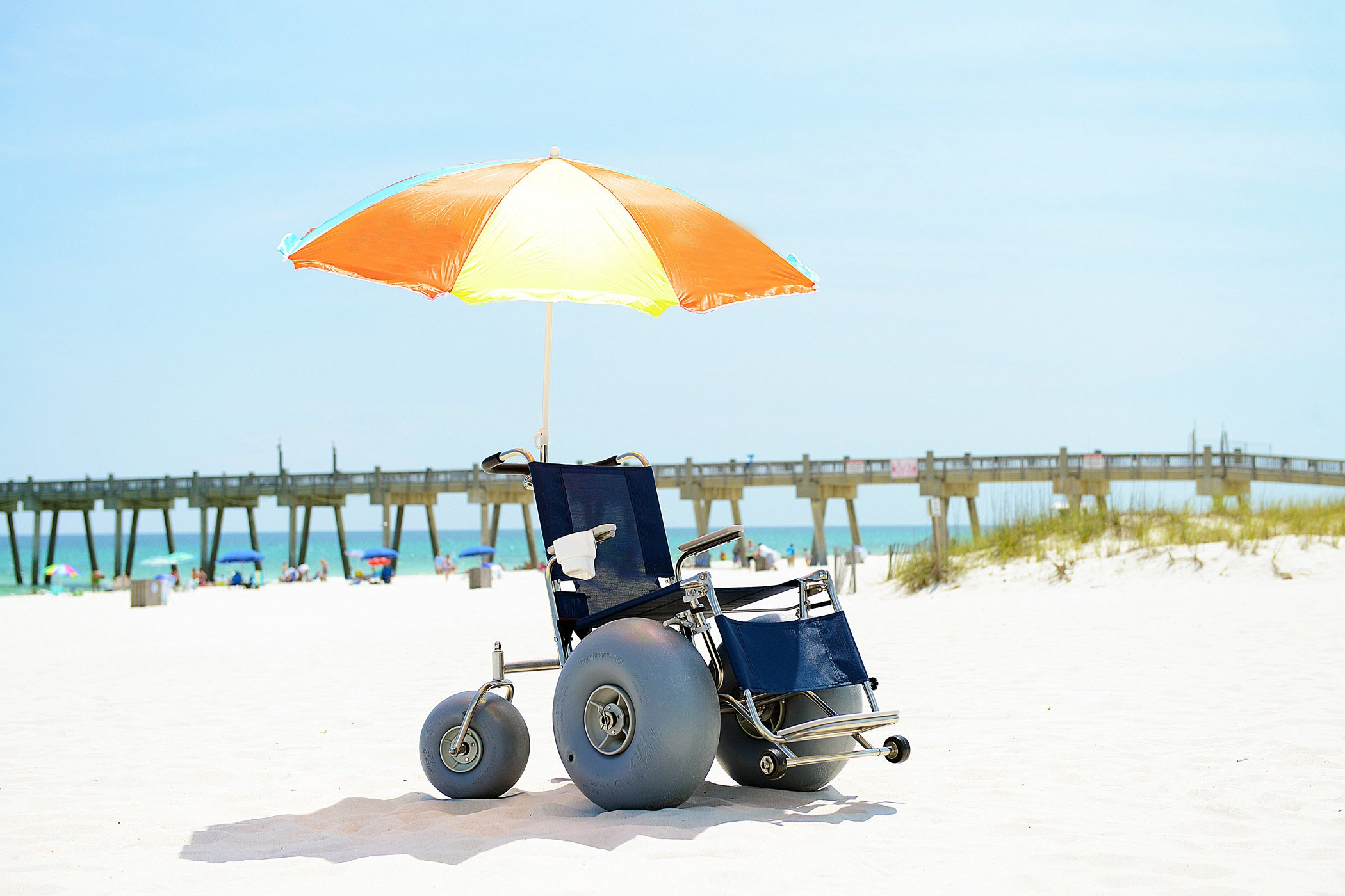 Beach Accessible Wheelchair with Umbrella - Easily pushes through beach sand includes elevated leg rest